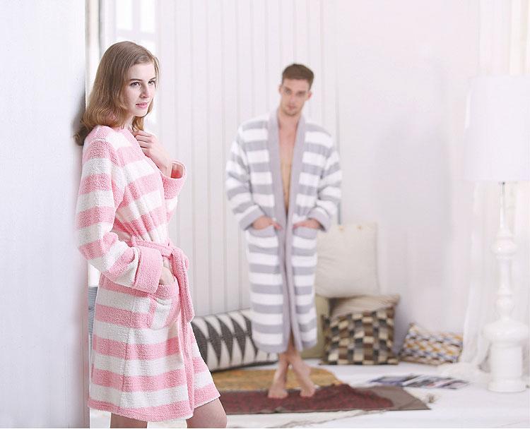 时尚男款横纹情侣袍